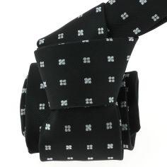Cravate CLJ, noir, motifs fleurs