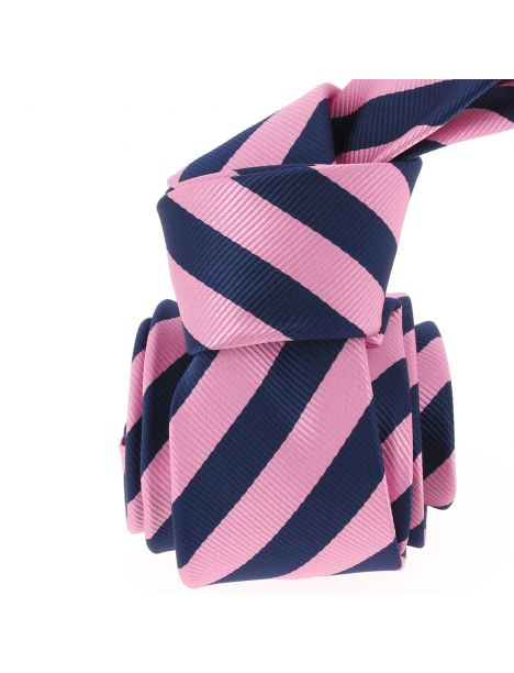 Cravate CLJ, Rugby navy et rose Clj Charles Le Jeune Cravates