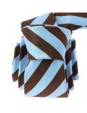 Cravate CLJ, Rugby large marron et ciel Clj Charles Le Jeune Cravates