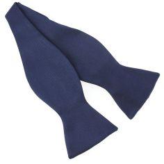 Nœud papillon à nouer en soie, Bleu marine, Fait à la main