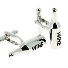 Bouton de Manchette CLJ bouteilles de vin argenté