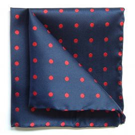 Pochette soie, Tyler and Tyler, Spot, bleu marine gros points rouge