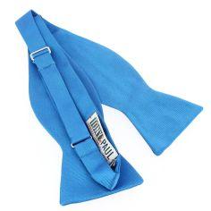 Nœud papillon à nouer en soie, Bleu Cina, Fait à la main