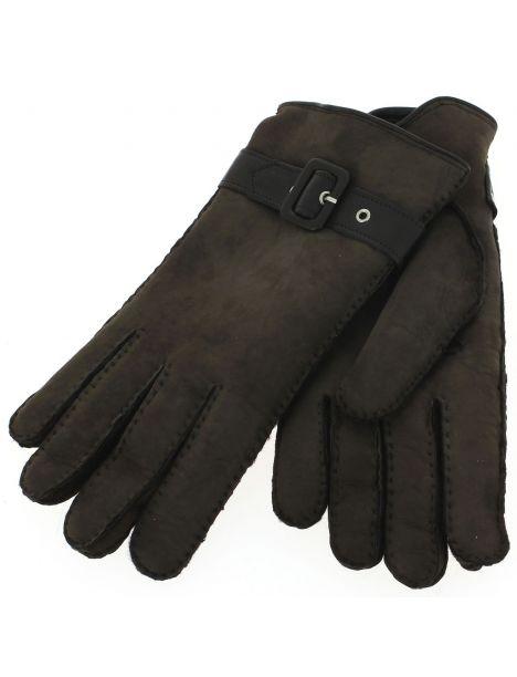 Gant cuir marron Luxe, agneau mérinos sherling, fait main en Italie Guanti di Arcucci Gants Homme