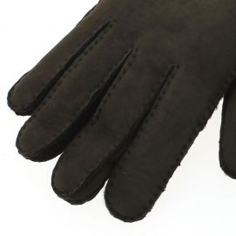 Gant cuir marron Luxe, agneau mérinos sherling, fait main en Italie