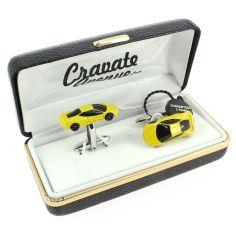Bouton de Manchette, voiture de sport jaune