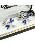 Bouton de Manchette, Libellule en cristal bleu Cravate Avenue Signature Bouton de manchette