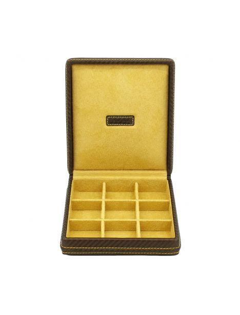 Ecrin 9 boutons de manchette, Carbone, fibre de carbone marron intérieur jaune Friedrich 23 Ecrins