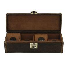 petite malle pour 4 montres, Cubano V2, cuir marron havane Friedrich 23 Ecrins