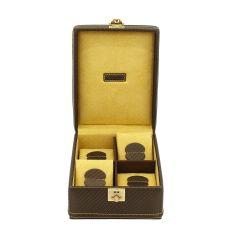 Ecrin 4 montres, Carbon, Couleur fibre de carbone intérieur jaune