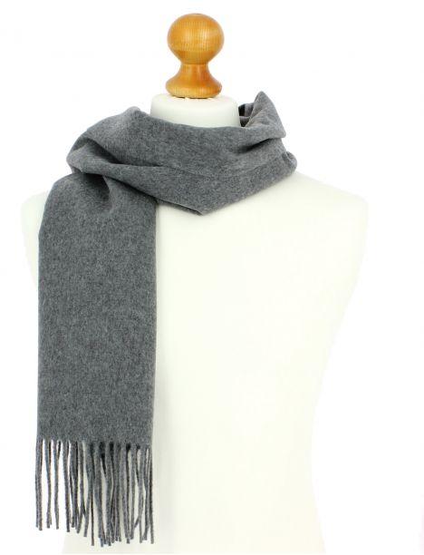 Echarpe grise luxe unie en laine d'Australie, 37x180cm Tony & Paul Echarpes et chèches