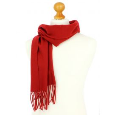 Echarpe rouge luxe unie en laine d'Australie, 37x180cm Tony & Paul Echarpes et chèches