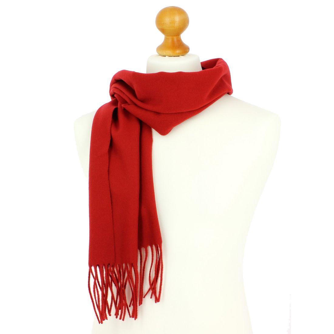 ... c2e3d00f56dddc Echarpe rouge luxe unie en laine d Australie, 37x180cm  ... 4c04af2cfe3