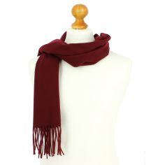 Echarpe bordeaux luxe unie en laine d'Australie, 37x180cm