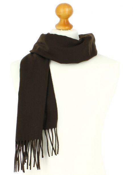 Echarpe marron chocolat luxe unie en laine d'Australie, 37x180cm Tony & Paul Echarpes et chèches