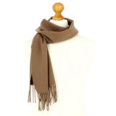 Echarpe marron camel luxe unie en laine d'Australie, 37x180cm