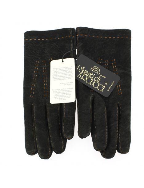 Gant cuir noir Luxe, agneau, fait main en Italie