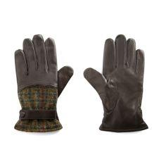 Gant cuir Simon Carter, cuir marron foncé, Tweed Khakii