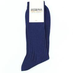 Chaussettes pur fil d'Ecosse. Bleu Bonaparte. Tony & Paul