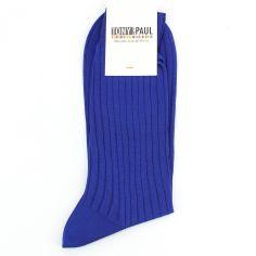 Chaussettes pur fil d'Ecosse. Bleu roi. Tony & Paul