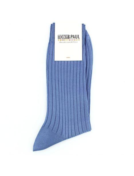 Chaussettes pur fil d'Ecosse. Bleu Jeans. Tony & Paul