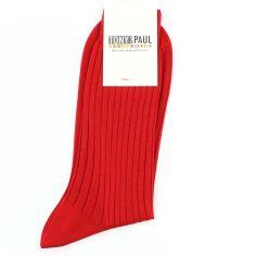 Chaussettes pur fil d'Ecosse. Rouge intense. Tony & Paul