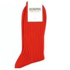 Chaussettes pur fil d'Ecosse. Rouge Cardinal. Tony & Paul