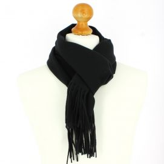 Echarpe noir luxe unie en laine d'Australie, 37x180cm