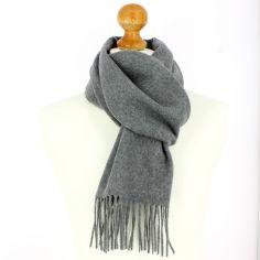 Echarpe grise luxe unie en laine d'Australie, 37x180cm