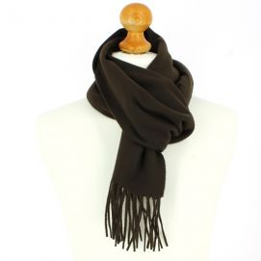 Echarpe marron chocolat luxe unie en laine d'Australie, 37x180cm