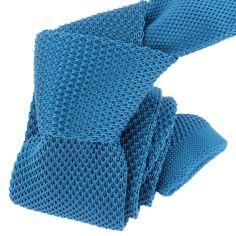 Cravate Tricot. Bleu Noble