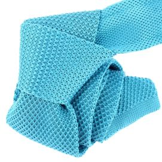 Cravate Tricot. Bleu d'Annecy