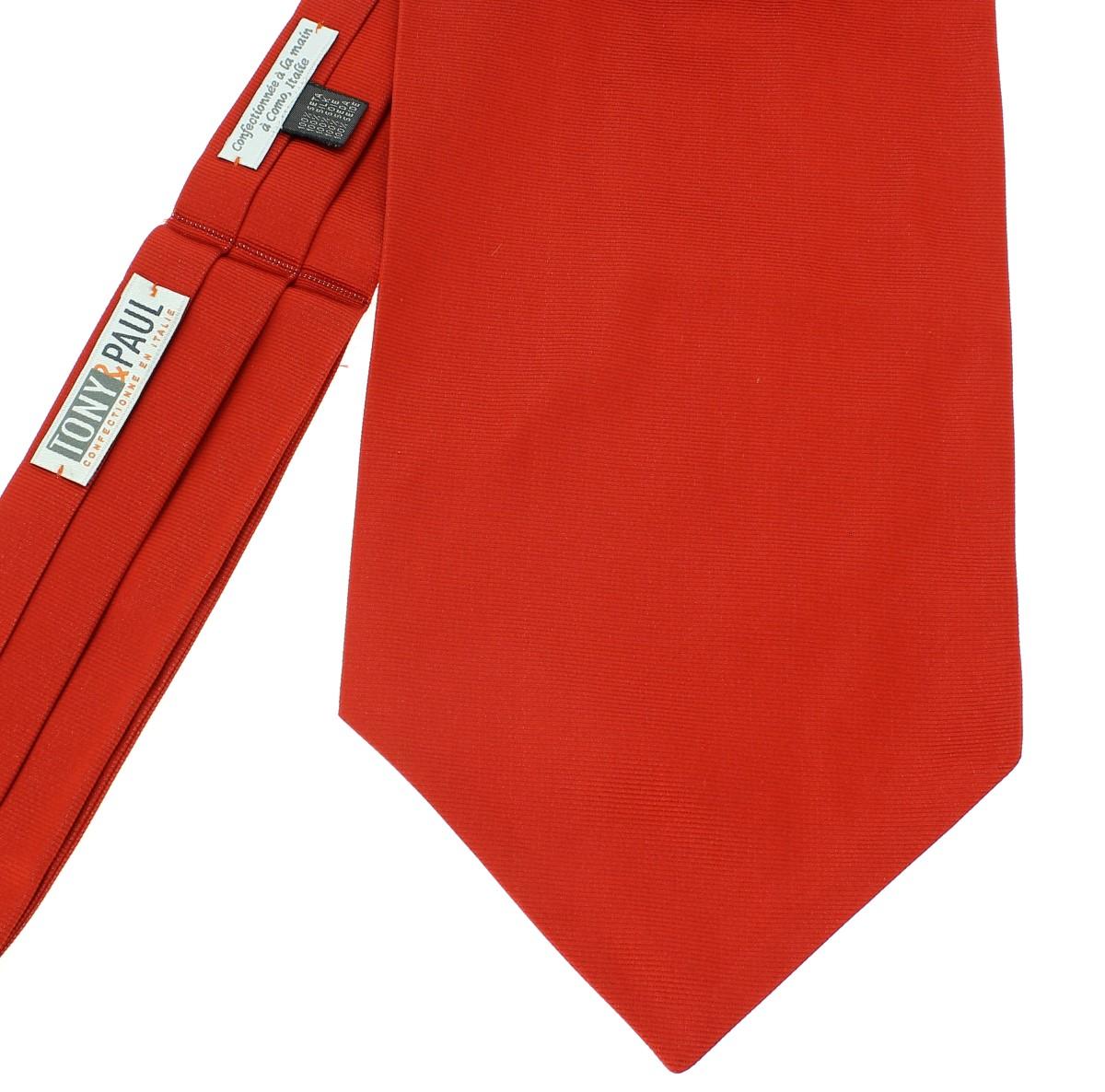 feb040f533305 Cravate Ascot en soie, Rouge Geraneo, Fait à la main