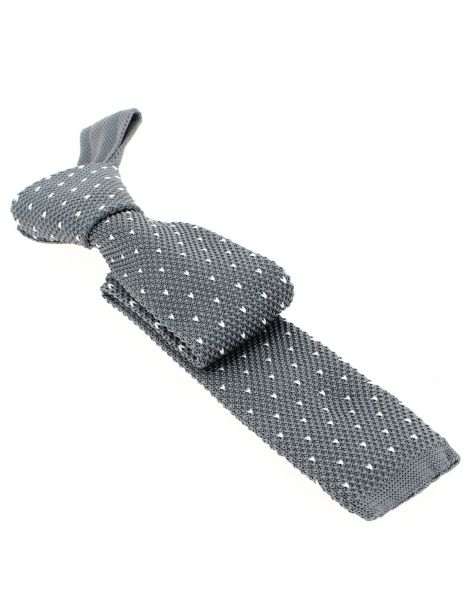 Cravate Tricot. Gris Manhattan