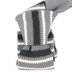 Cravate Tricot. Gris et noir Clj Charles Le Jeune Cravates