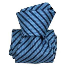 Cravate Luxe Segni Disegni, Mogador, Brescia, deux bleus