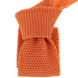 Cravate Tricot Orange Rame, soie, Tony & Paul