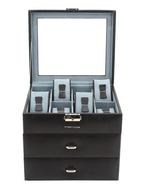 coffret tiroirs 24 montres, REDFORD, noir, vitré Friedrich 23 Ecrins