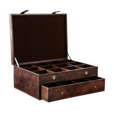 Coffret rangement 24 cravates, Gregor, cuir de buffle Marron foncé