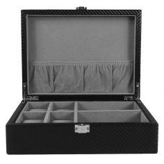Ecrin Luxe fibre de carbon finition cuir, 4 montres + boutons de manchette, Kennett Kennett Ecrins