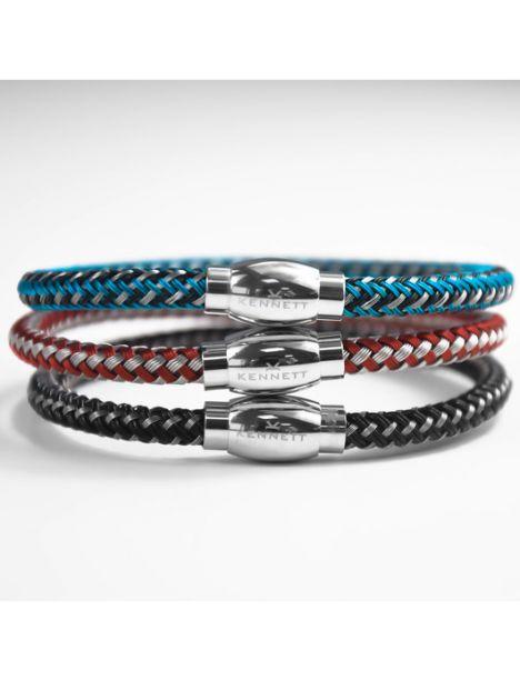 Bracelet, Kennett maille bleu et argent