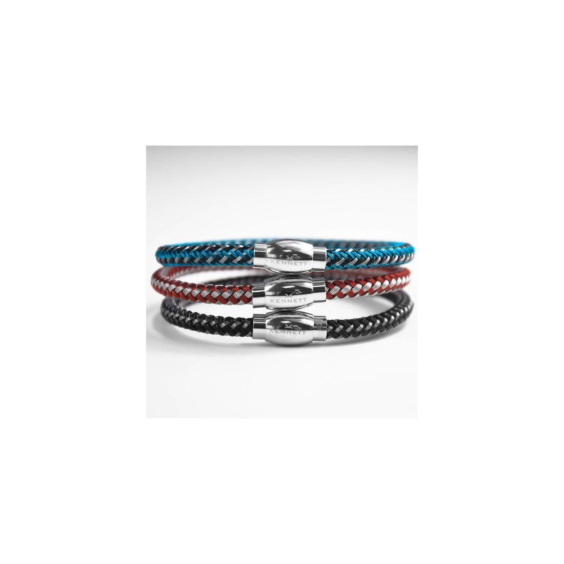 bracelet kennett maille bleu et noir. Black Bedroom Furniture Sets. Home Design Ideas