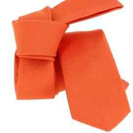 Cravate soie Segni Disegni CLASSIC, Slim Orange