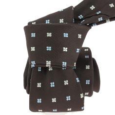 Cravate CLJ, marron, motifs fleurs