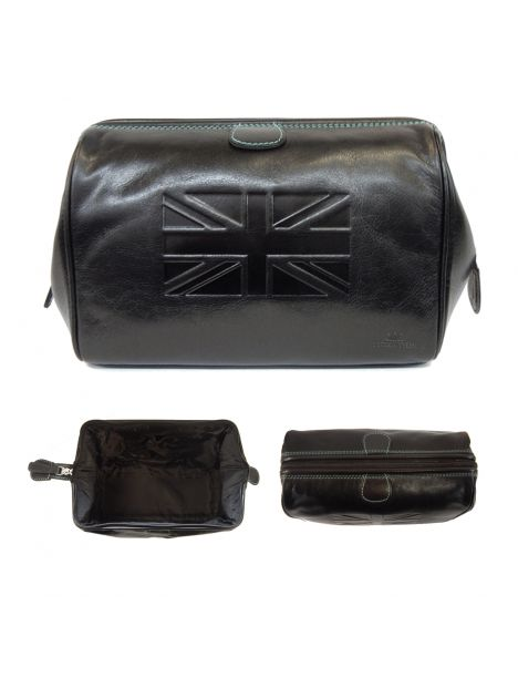 Trousse de toilette en cuir, Tyler and Tyler, marron, UNION JACK Tyler & Tyler Trousses de toilette