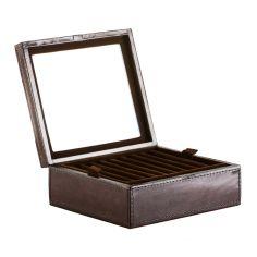 Coffret rangement boutons de manchette et bijoux Gregor ring, cuir de buffle marron foncé Balmuir Ecrins