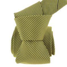 Cravate soie Classique Segni Disegni, Como rayée jaune et noir
