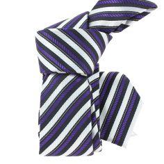 Cravate en soie ATTORE, SLIM 5cm, rayée noir, violet et blanc