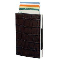 Porte carte Aluminium et cuir,Cascade Wallet, Ogon Designs, Imprimé Croco Ogon Designs Petite Maroquinerie