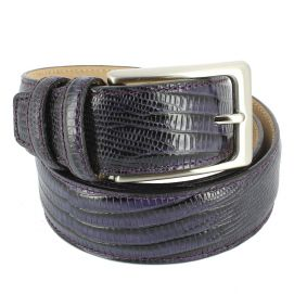 Ceinture cuir, Serpent violet, 35mm bords surpiqués